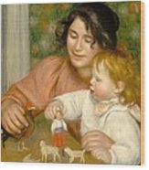 Child With Toys Gabrielle And The Artist S Son Jean Wood Print by Pierre Auguste Renoir