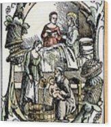 Childbirth, 1499 Wood Print