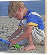 Childhood Beach Play Wood Print