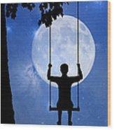 Childhood Dreams 2 The Swing Wood Print by John Edwards