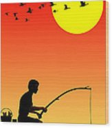 Childhood Dreams 3 Fishing Wood Print