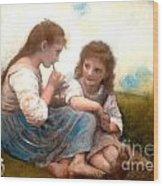 Childhood Idyllic By Bouguereau Wood Print