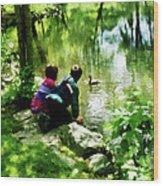 Children And Ducks In Park Wood Print