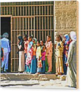 Children And Tourists At Entry To Temple Of Hathor In Dendera-egypt Copy Wood Print by Ruth Hager