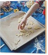 Children Baking Christmas Cookies Wood Print