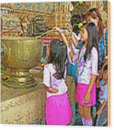 Children Bring Lotus Flowers To Royal Temple At Grand Palace Of Thailand Wood Print