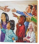 Children Coming To Jesus Wood Print by John Lautermilch