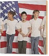 Children In Front Of American Flag Wood Print by Don Hammond