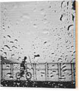 Children In Rain Wood Print
