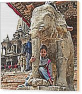 Children Love The Elephants In Patan Durbar Square In Lalitpur-nepal Wood Print