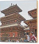 Children On Pagodas In Bhaktapur Durbar Square In Bhaktapur-nepal Wood Print