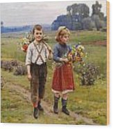 Children On The Way Home Wood Print