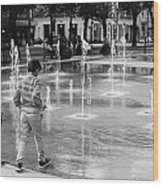 Children Play By Fountain Wood Print