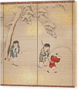 Children Playing In Summer And Winter Wood Print