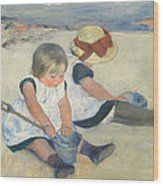 Children Playing On The Beach Wood Print