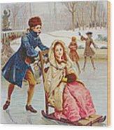 Children Skating Wood Print by Maurice Leloir