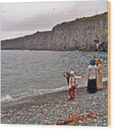 Children Throwing Capelin Back Into The Ocean At Middle Cove-nl Wood Print