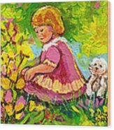 Children's Art - Little Girl With Puppy - Paintings For Children Wood Print