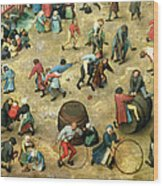 Childrens Games Kinderspiele Detail Of Bottom Section Showing Various Games, 1560 Oil On Panel Wood Print