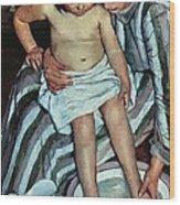 Child's Bath Wood Print by Mary Cassatt