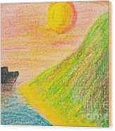 Child's Hand Drawing Of Sea And Mountain Landscape With Crayons Wood Print