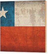 Chile Flag Vintage Distressed Finish Wood Print