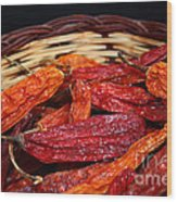 Chilis In A Basket Wood Print