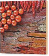 Chilli And Tomato On Rustic Background Wood Print