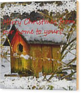 Chilly Birdhouse Holiday Card Wood Print