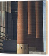 Chimneys Of Coal Power Station. Wood Print