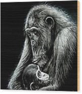 Chimp Love Wood Print