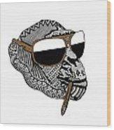 Chimp1 Wood Print by Karen Larter