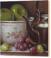 China Bowl And Teapot Wood Print by Timothy Jones