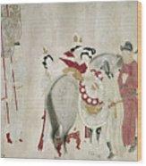 China Concubine & Horse Wood Print