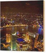 China Shanghai At Night  Wood Print