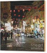 China Town At Night Wood Print