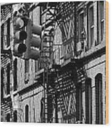 China Town Fire Escape Wood Print