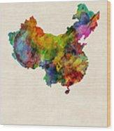 China Watercolor Map Wood Print