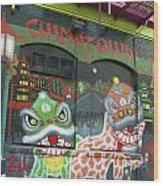 Chinatown Foo Dog Mural Wood Print