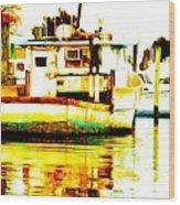 Chincoteague Boat Reflections Wood Print