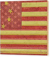 Chinese American Flag Blend Wood Print