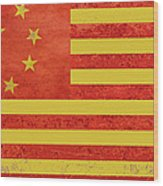 Chinese American Flag Wood Print