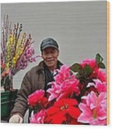 Chinese Bicycle Flower Vendor On Street Shanghai China Wood Print