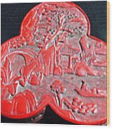 Chinese Cinnabar Trefoil Container Wood Print