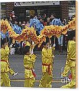 Chinese Dragon Dancers Wood Print