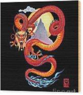 Chinese Dragon on Black Wood Print