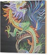 Chinese Fire Dragon Wood Print