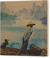 Chinese Fisherman With Commarant Wood Print