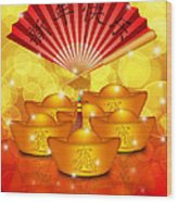 Chinese Gold Bars And Fan With Text Happy New Year Wood Print