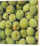 Chinese Green Plums Wood Print by Yali Shi